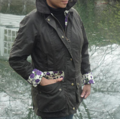 Barbour Ladies Print Beadnell Olive Waxed Jacket