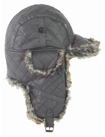 Mens Barbour Quilted Waxed Hunter Hat - Black