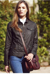 Womens Barbour Calgary Waxed Jacket - Olive