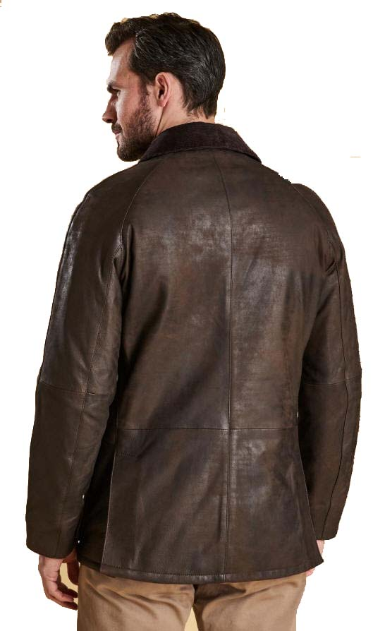 5d518b511 Barbour Mens Leather Ashby Jacket Brown - MLT0084BR59 | Red Rae Town ...