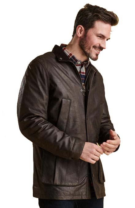 a5e1866b2 Barbour Mens Leather Thomas Jacket Olive - MLT0081OL71   Red Rae ...