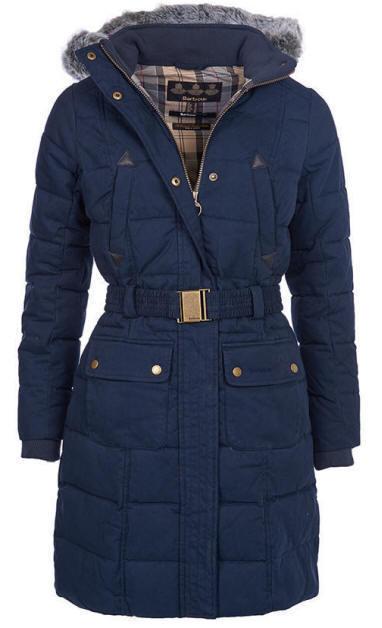 Ladies navy padded coat with fur hood