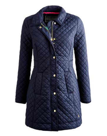 Joules Ladies Fairhurst Quilted Coat Navy Red Rae Town Country