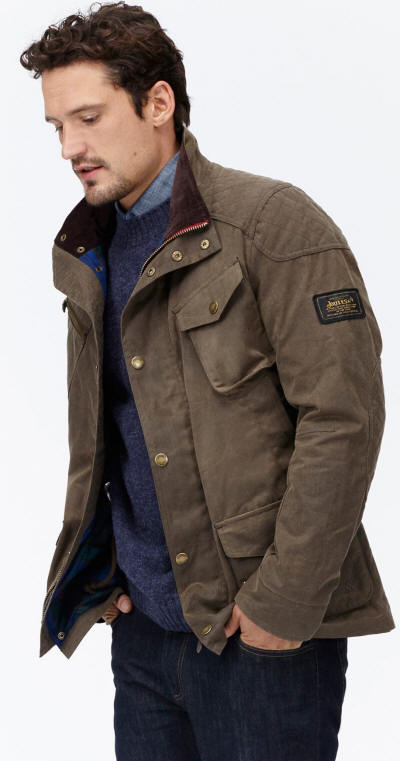 Joules Mens Lockhart Waxed Biker Style Jacket - Sand | Red Rae ... : mens joules quilted jacket - Adamdwight.com