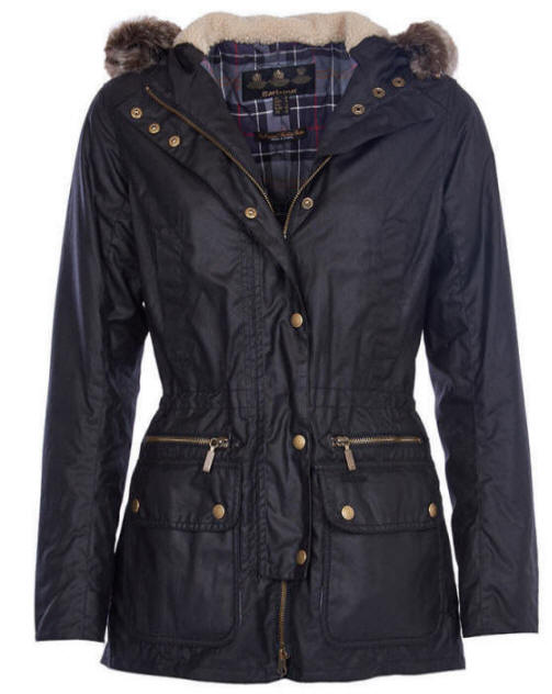 Barbour Ladies Kelsall Wax Parka Jacket Black