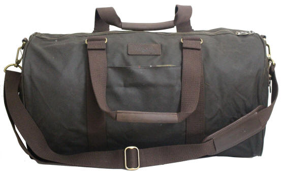 Barbour Wax Cotton Barrel Duffle Holdall Bag Olive