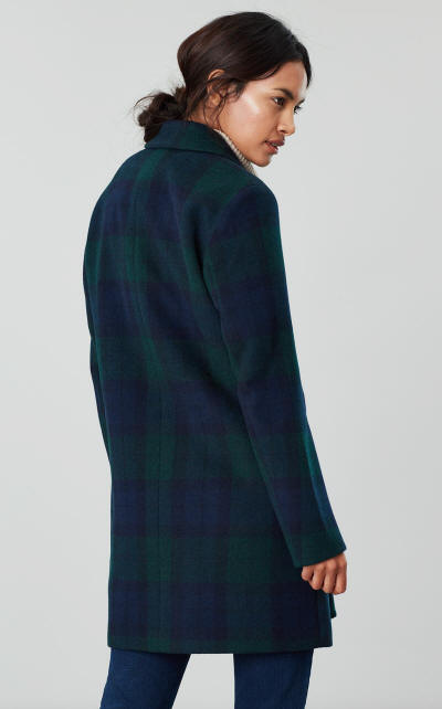 Costello Check Wool Blend Coat by Joules