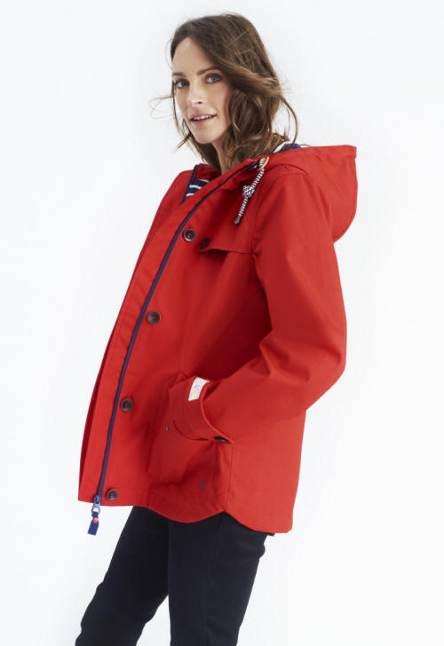 f610b3e0e Joules Coast Womens Waterproof Cotton Coat Y_Coast - Red | Red Rae ...