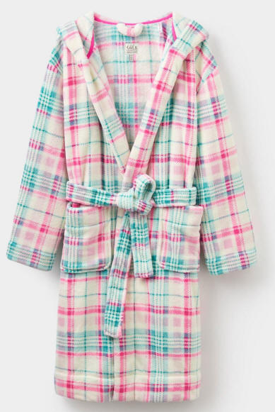 Joules Womens Rita Fleece Dressing Gown - Cream Check; Red Rae Town ...