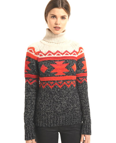 Superdry Ladies Tribal Fairisle Rollneck - Red Rae Town & Country
